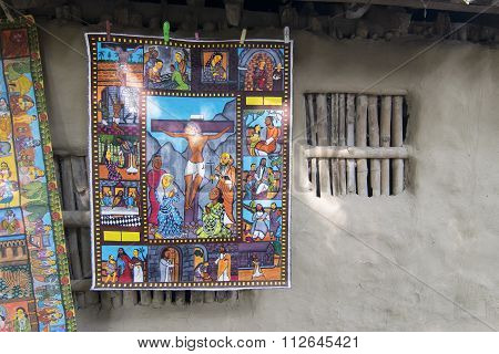 Colourful Painting Suspended From Clay Made Wall In Pingla Village.