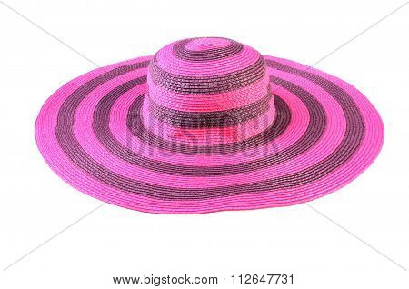 Top View Of A Round Straw Hat Isolated On A White Background.