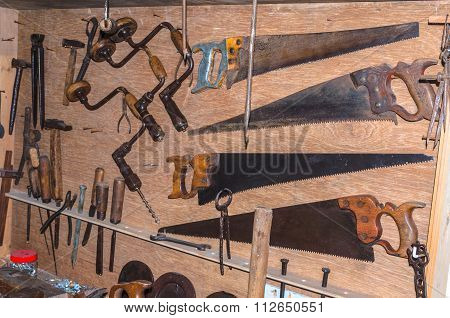 Woodworking Tools In A Carpenter's Workshop.