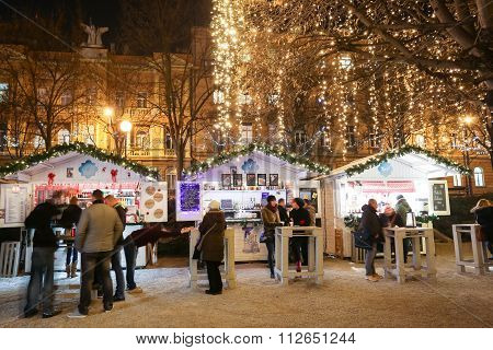 Food Stands In Iluminated King Tomislav Park