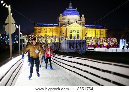 Skater On Ice Rink In Zagreb