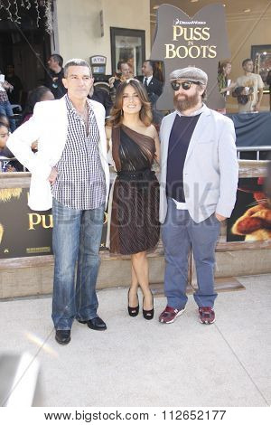 WESTWOOD, CALIFORNIA - October 23, 2011. Zach Galifianakis, Salma Hayek and Antonio Banderas at the Los Angeles premiere of