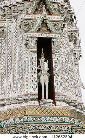 Architecture Detail In Wat Arun Buddhist Temple In Bangkok, Thailand