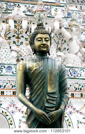 Praying Monk Buddha Statue In Wat Arun Temple In Bangkok, Thailand