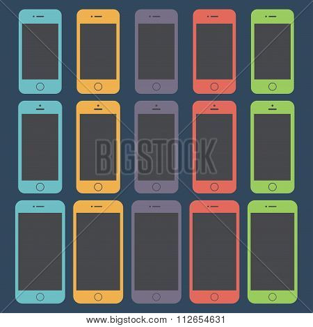 Smartphone Icons Set In The Style Flat Design On The Dark Background. Stock Vector Illustration Eps1