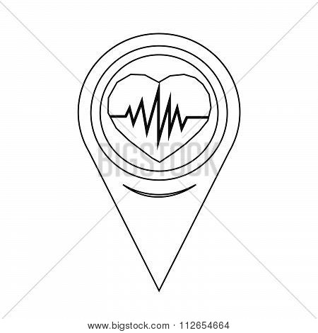 Map Pointer Heartbeat Icon