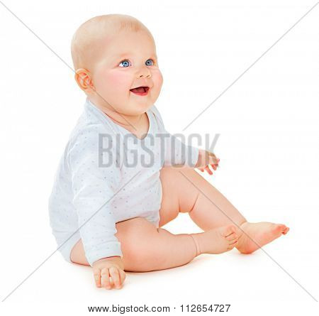 Crawling cute baby girl isolated on white background. Smiling toddler
