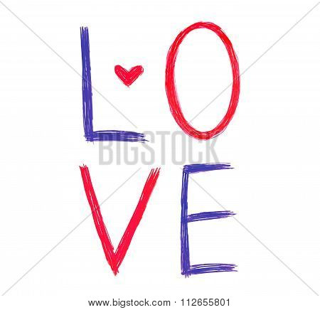 Vector Color Word ''love'' With Abstract Heart