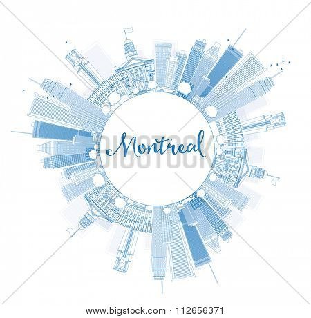 Outline Montreal skyline with blue buildings and copy space. Vector illustration. Business travel and tourism concept with place for text. Image for presentation, banner, placard and web site.