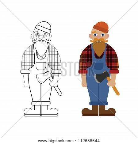Vector unpainted and colored lumberjack. Game coloring book page for children