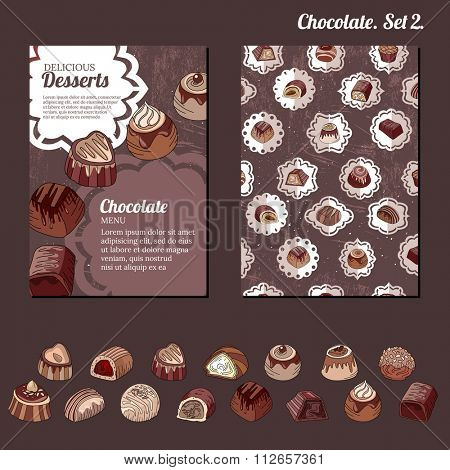 Template with different kinds of chocolate candies - milk,dark,white chocolate.   For your design, announcements, cards, posters, restaurant menu.