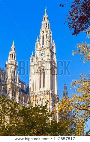 Rathaus Of Vienna. Town Hall Facade Over Sky