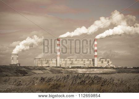 White Danger Smoke From Coal Power Plant Chimney