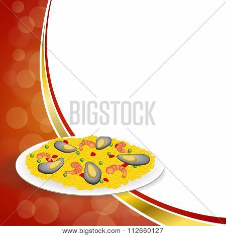 Abstract background food paella rice peas pepper shrimp mussel green red gold frame illustration