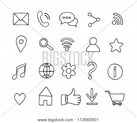 Set of basic hand drawn line icons. Sketch style elements. Universal web icons for media, communicat
