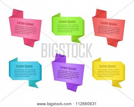 Set of origami speech bubbles. Colorful banners for design. Vector illustration.