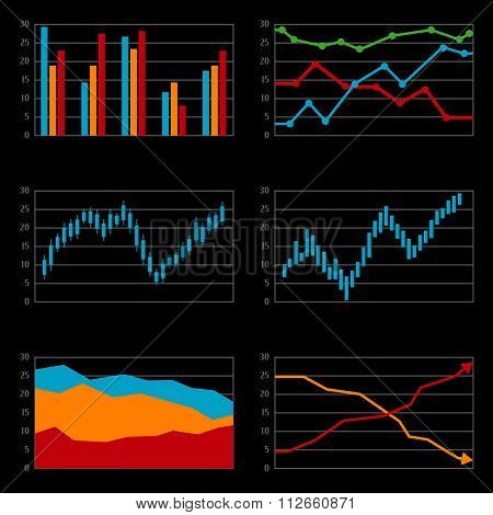 Set of histograms, black background