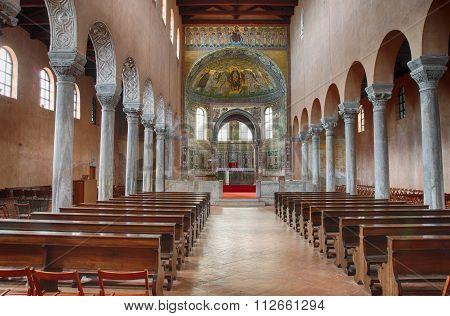 Interior Of Ancient Euphrasian Basilica In Porec