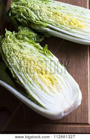 Head Chinese cabbage closeup