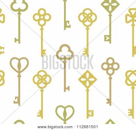 Seamless pattern with antique keys. Vector illustration.