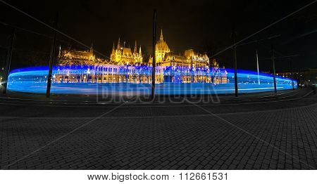 Budapest, Hungary - December 10, 2015: Christmass Lights On A Tram In Budapest