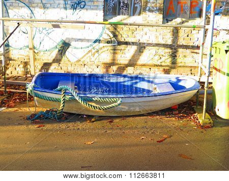 Blue Stranded Rowboat