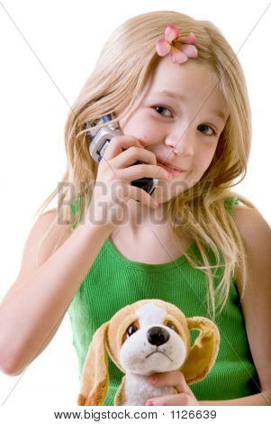 Eight Year Old On Her Cell