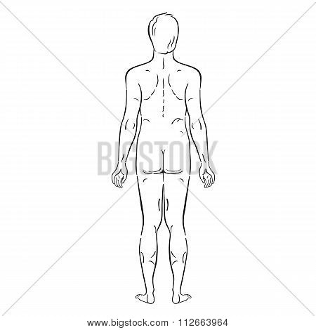Fashion Man Outlined Template Full Length Figure Silhouette