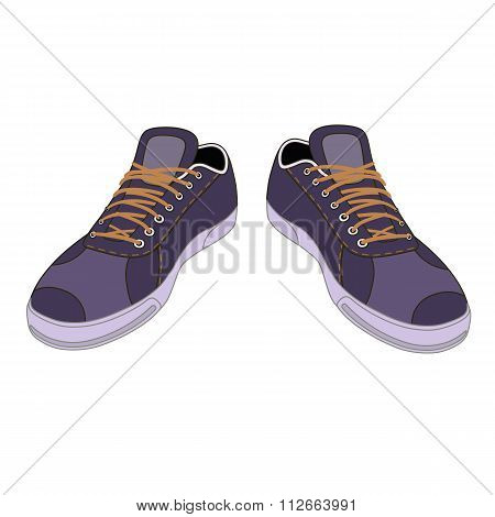 Unisex Outlined Template Sneakers Pair Front View