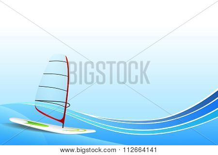 Abstract background sea holidays design red green white windsurfing blue frame illustration vector
