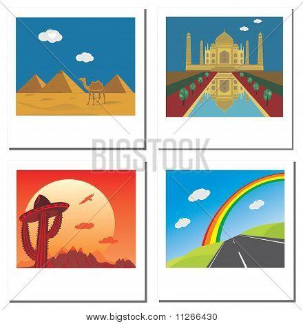 Set von vier Reisen Vektor Fotos mit Taj Mahal, Ägypten-Pyramiden, Straße und mexikanische Landschaft