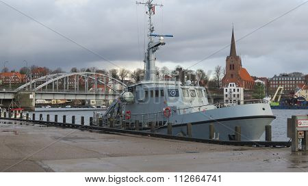 Navy Vessel In Sonderburg Harbour