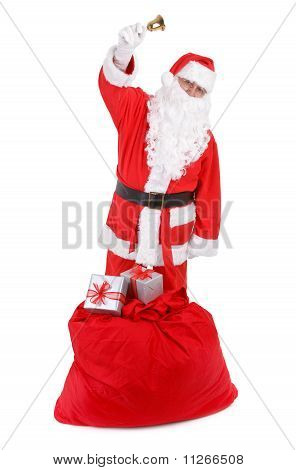 Santa Claus With Sack On White