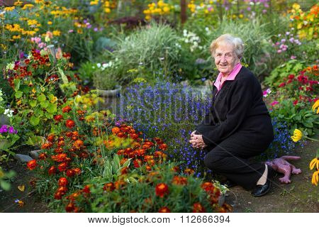 An old grandmother was sitting in the flower garden.