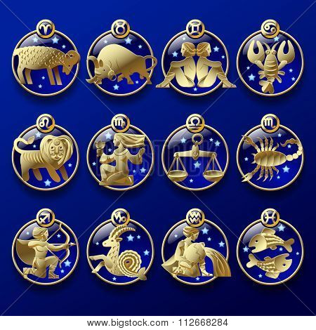 Set of round dark blue icons with gold zodiacal signs with figure, symbols and stars against a blue background