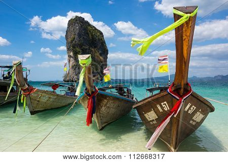 Traditional Thai Long Tail Boats