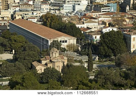 Ancient Market And Old Byzantine Church, Athens, Greece