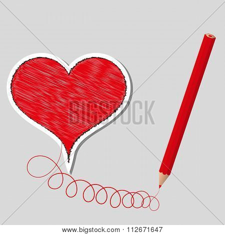 Vector illustration primed heart and pencil