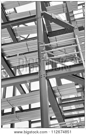 A Construction Site With Steel Framing