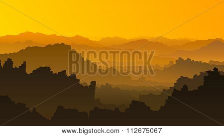 Horizontal Illustration Of Sunset In Mountains.
