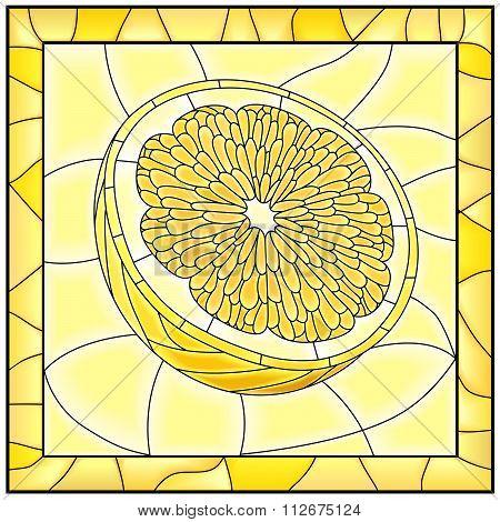 Vector Yellow Illustration Of Fruit Yellow Lemon.