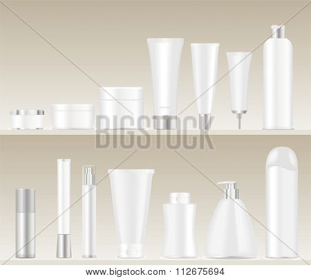 Cosmetic tubes on shelves.