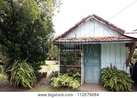 Facade Of House In Countryside Of Brazil