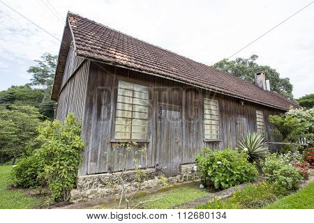 Wooden House In Countryside Of Brazil