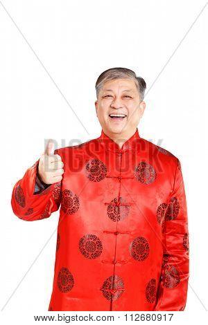portrait of old men in mandarin with gesture