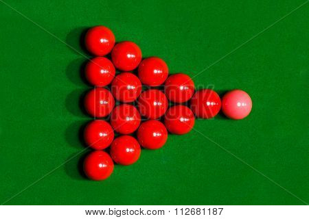 Snooker ball on a billiard table top