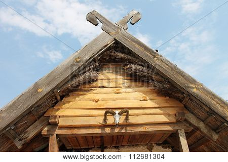 Wooden Roof, Decorated With Straw And Sheep's Head
