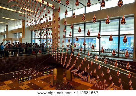 SINGAPORE - NOVEMBER 07, 2015: Kinetic Rain at Changi Airport. Singapore Changi Airport, is the primary civilian airport for Singapore, and one of the largest transportation hubs in Southeast Asia