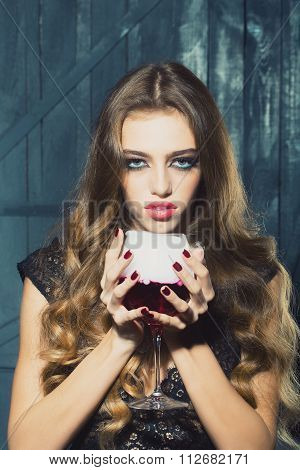 Pretty Woman With Wine Glass