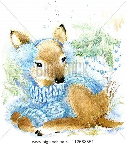cute baby deer in winter forest. Cute deer watercolor drawing. Deer illustration for Christmas greet